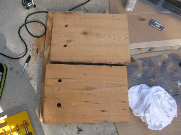 drill holes for bench