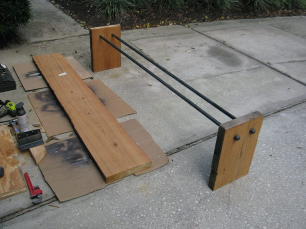 adding metal support to bench